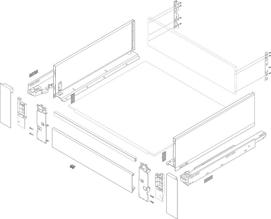 "Blum ZI7.3CS0 LEGRABOX C Height (7"") Interior Front Fixing Bracket, Orion Gray :: Image 20"