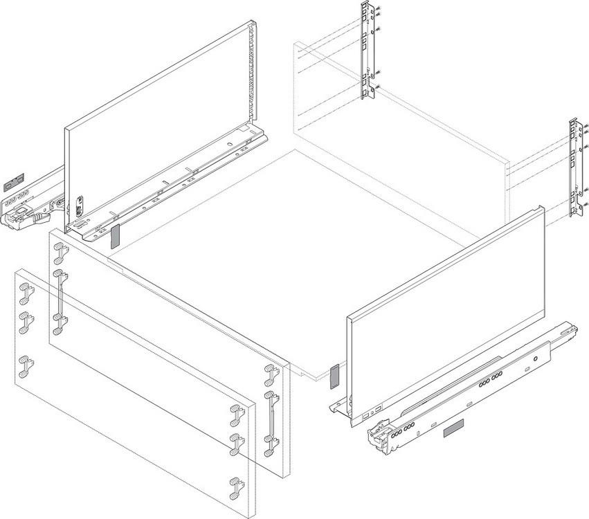 """Blum 753.4501B LEGRABOX 18"""" Cabinet Profile, BLUMOTION, Zinc, Heavy Duty 155lb :: Image 100"""
