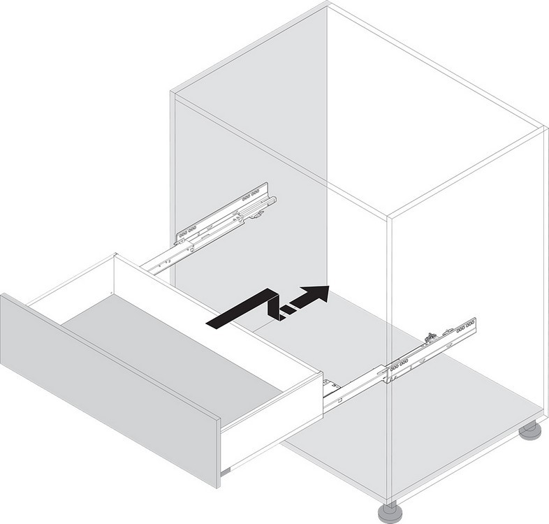 Blum T60L7140 MOVENTO Standard Duty S1 TIP-ON BLUMOTION Unit, Light Gray :: Image 130