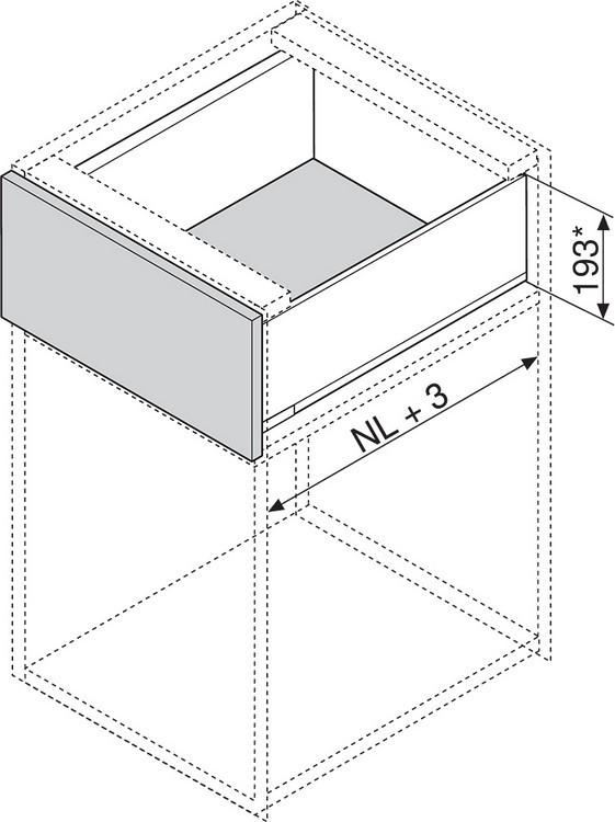 """Blum 753.4501B LEGRABOX 18"""" Cabinet Profile, BLUMOTION, Zinc, Heavy Duty 155lb :: Image 80"""