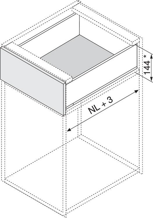 """Blum 753.4501B LEGRABOX 18"""" Cabinet Profile, BLUMOTION, Zinc, Heavy Duty 155lb :: Image 150"""