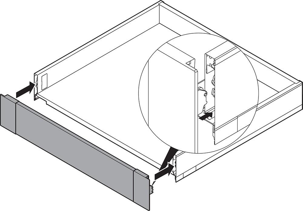 "Blum ZI7.0MS0 LEGRABOX M Height (3-9/16"") Interior Front Fixing Bracket, Orion Gray :: Image 50"