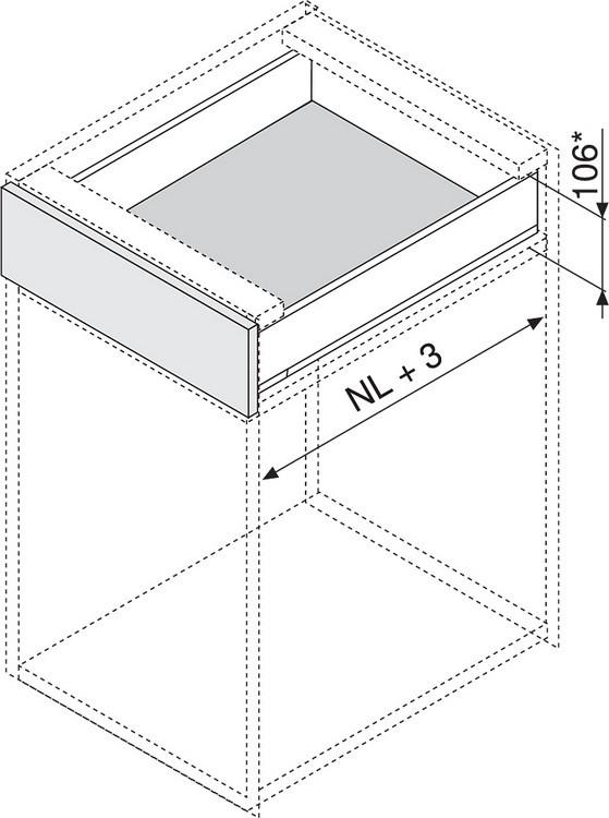 """Blum 753.4501B LEGRABOX 18"""" Cabinet Profile, BLUMOTION, Zinc, Heavy Duty 155lb :: Image 30"""
