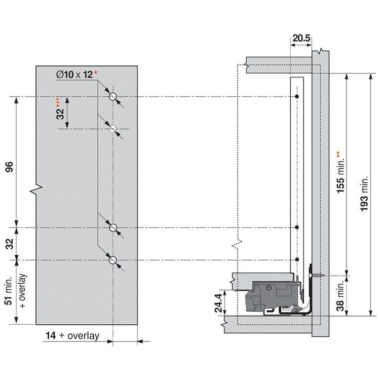 "Blum ZF7C70E2 LEGRABOX C Height (7"") Front Fixing Bracket, EXPANDO :: Image 30"