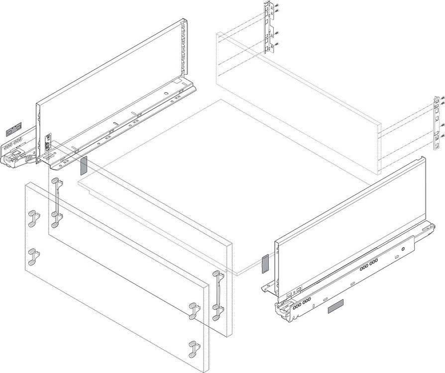 "Blum ZF7M70E2 LEGRABOX M Height (3-9/16"") Front Fixing Bracket, EXPANDO :: Image 40"