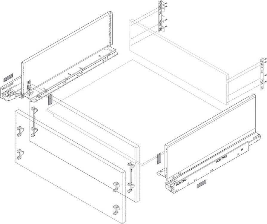 "Blum 770C6002I LEGRABOX 24"" C Height (7"") Drawer Profile, BLUMOTION, Stainless Steel :: Image 20"
