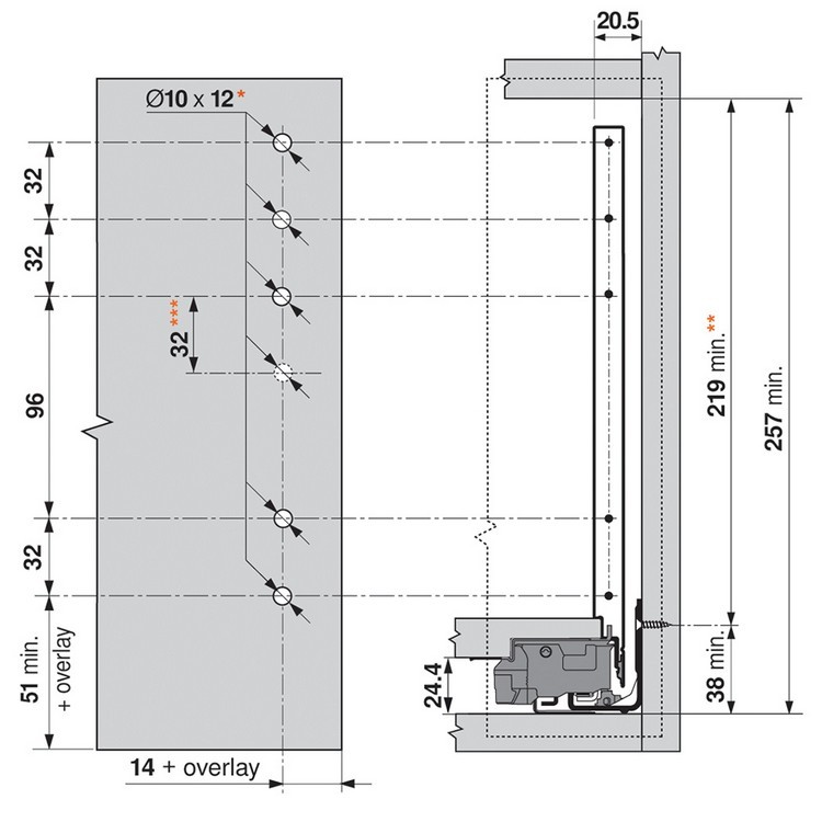 "Blum ZF7M70E2 LEGRABOX M Height (3-9/16"") Front Fixing Bracket, EXPANDO :: Image 70"