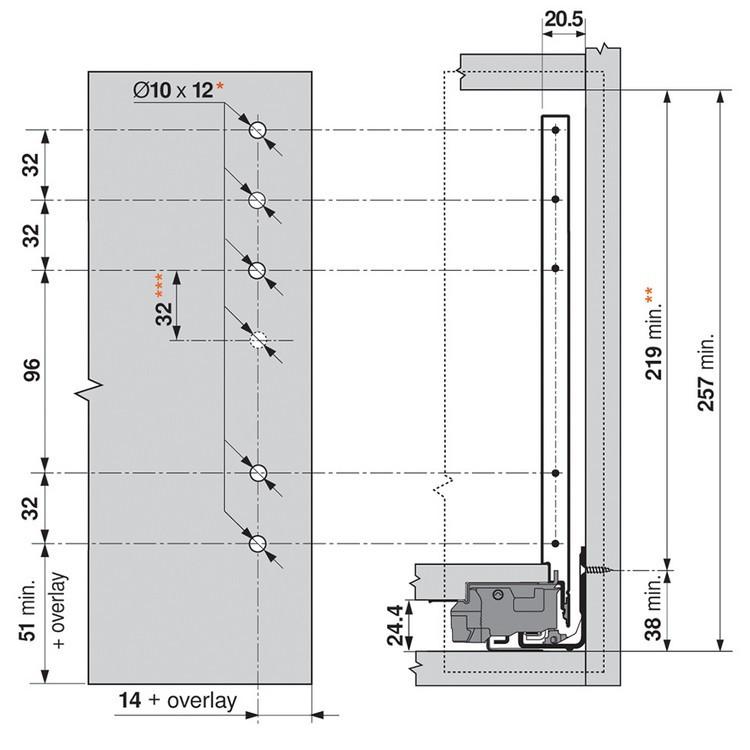 "Blum ZF7C7002 LEGRABOX C Height (7"") Front Fixing Bracket, Screw-On :: Image 50"