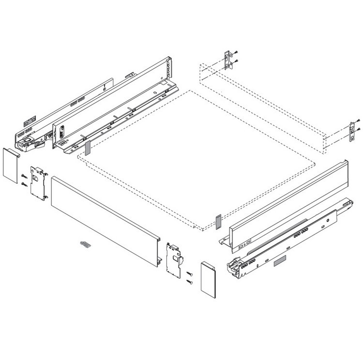 "Blum ZI7.0MS0 LEGRABOX M Height (3-9/16"") Interior Front Fixing Bracket, Orion Gray :: Image 20"