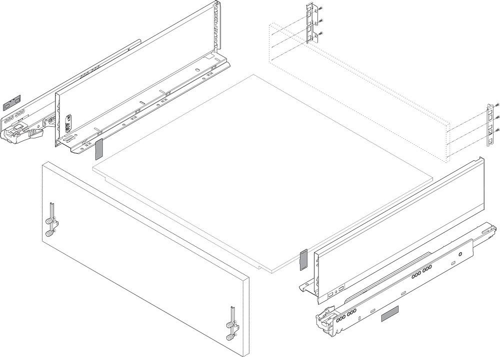 """Blum ZB7K000S LEGRABOX K Height (5-1/16"""") Rear Fixing Bracket Set, Right Hand & Left Hand, Orion Gray :: Image 20"""