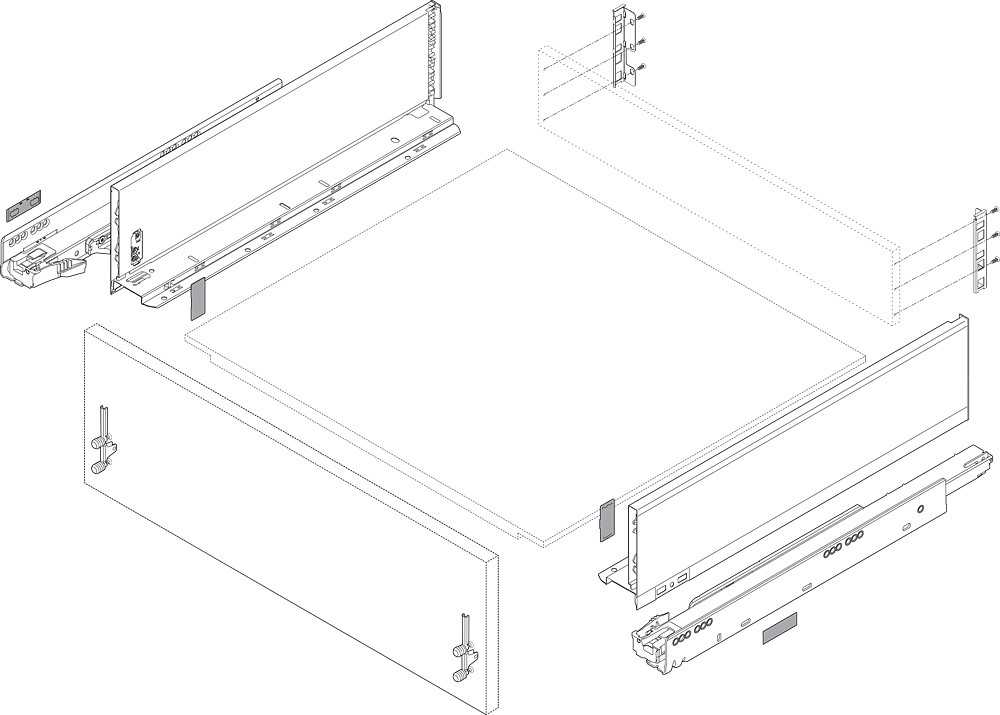 """Blum 753.4501B LEGRABOX 18"""" Cabinet Profile, BLUMOTION, Zinc, Heavy Duty 155lb :: Image 160"""