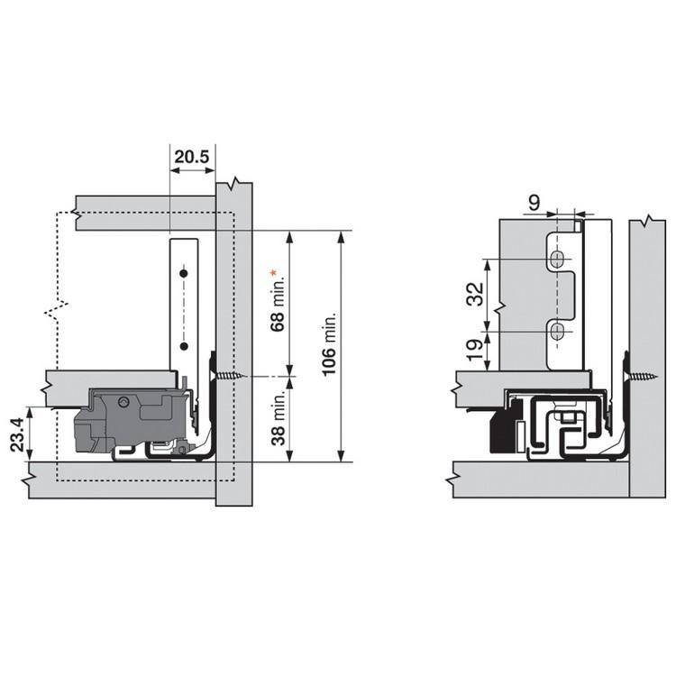 "Blum ZI7.0MS0 LEGRABOX M Height (3-9/16"") Interior Front Fixing Bracket, Orion Gray :: Image 60"