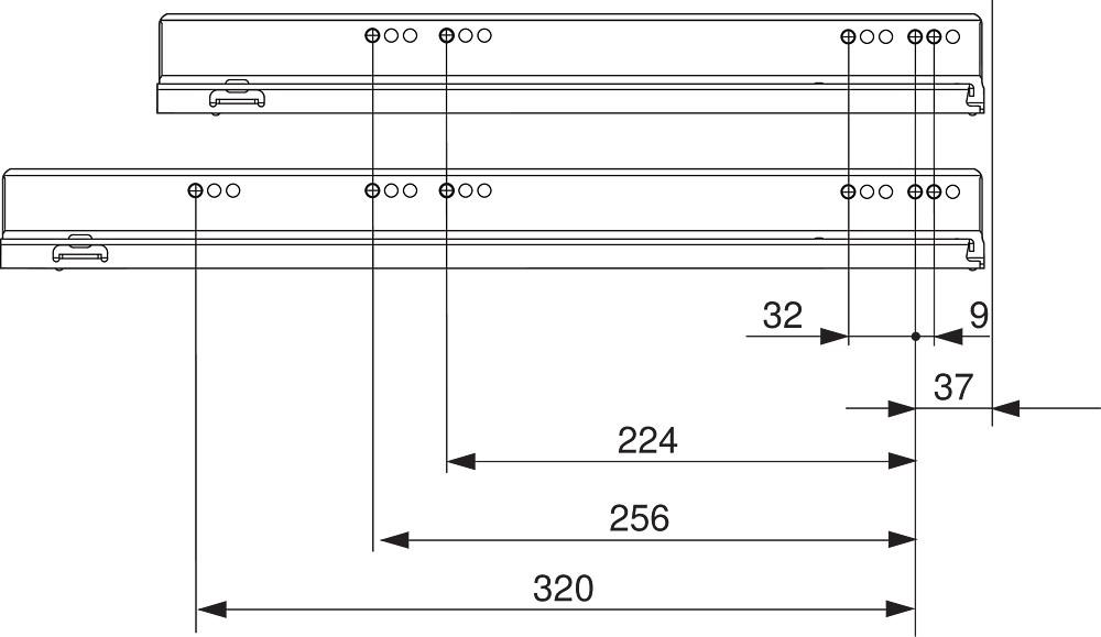 """Blum 753.4501B LEGRABOX 18"""" Cabinet Profile, BLUMOTION, Zinc, Heavy Duty 155lb :: Image 170"""