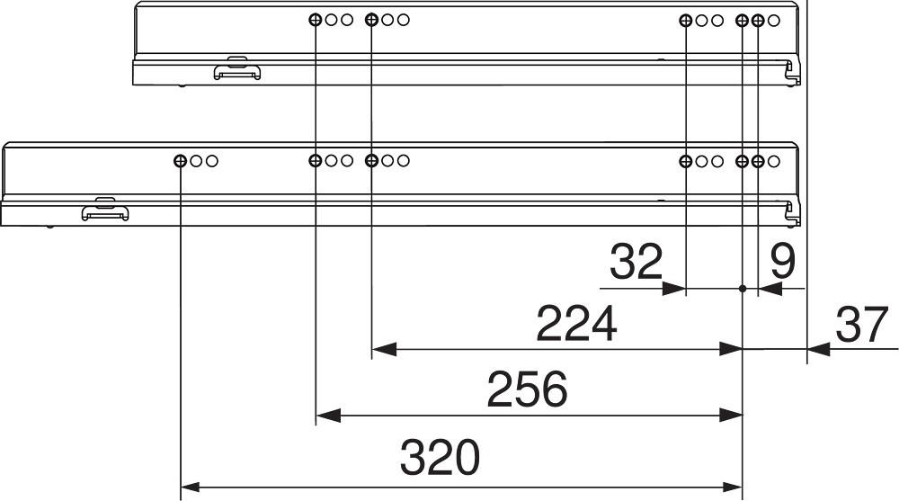 """Blum 753.4501B LEGRABOX 18"""" Cabinet Profile, BLUMOTION, Zinc, Heavy Duty 155lb :: Image 40"""