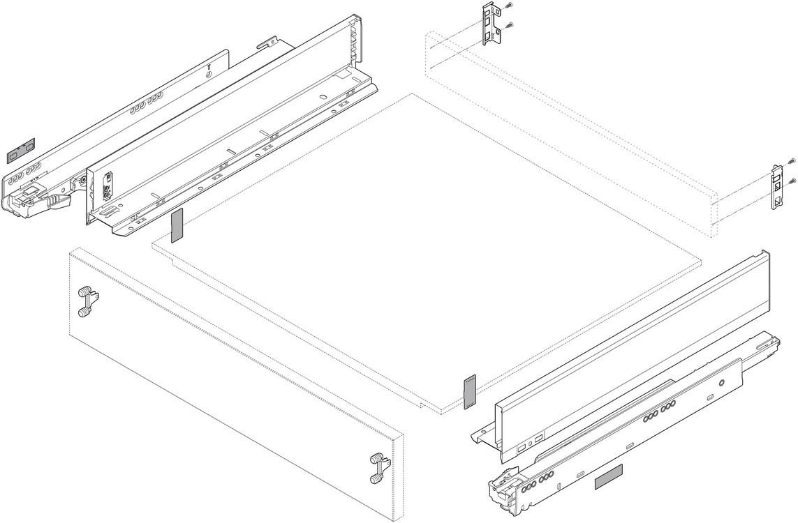 "Blum 770M5002S LEGRABOX 20"" M Height (3-9/16"") Drawer Profile, BLUMOTION, Orion Gray :: Image 20"