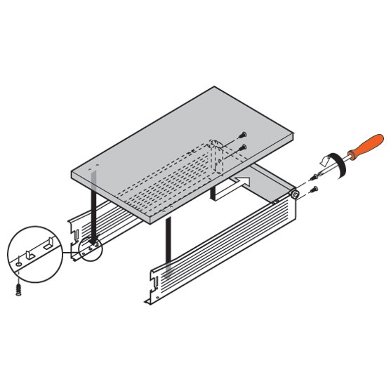 Blum 320M4500C15 18in METABOX 320M Slide, 4in Side Height, 3/4 Ext :: Image 100