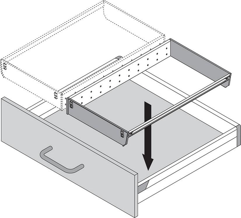 Blum ZSI.550BI1N 22in Single Tiered Cutlery Organizer, Inox :: Image 90
