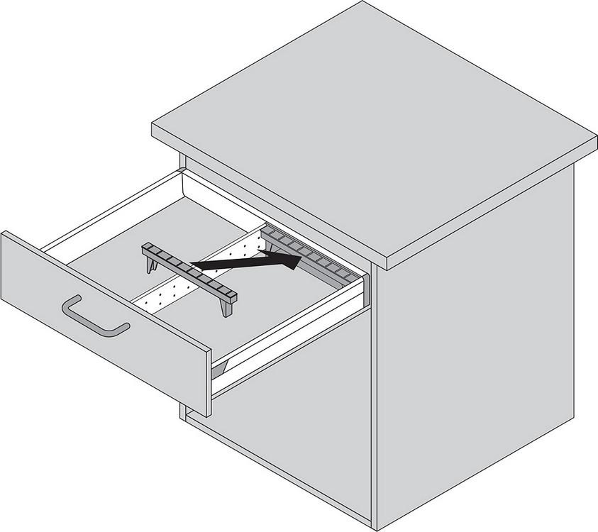 Blum ZSI.550BI1N 22in Single Tiered Cutlery Organizer, Inox :: Image 100