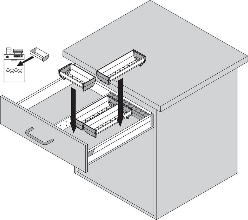 Blum ZSI.500BI1N 20in Single Tiered Cutlery Organizer, Inox :: Image 30