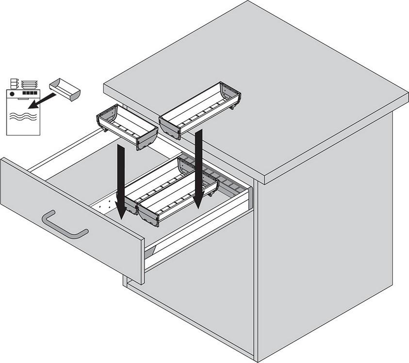 Blum ZSI.550BI1N 22in Single Tiered Cutlery Organizer, Inox :: Image 80