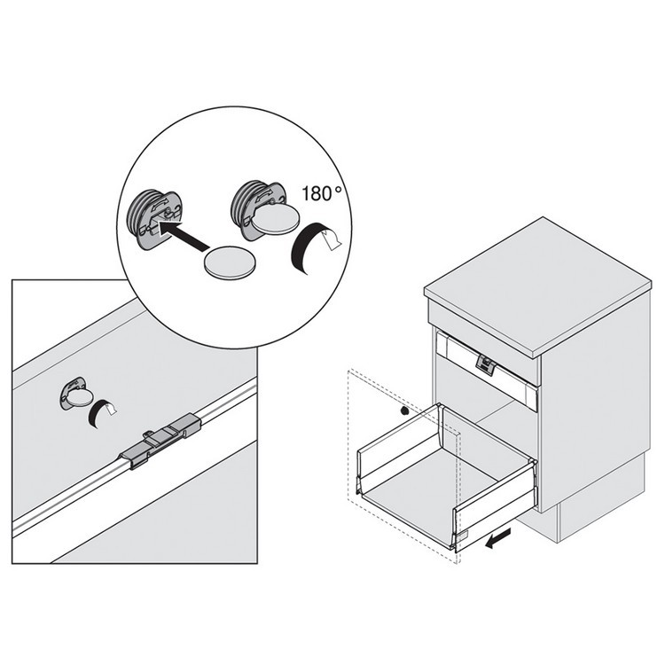 Blum ZIF.80M7 TANDEMBOX Interior Drawer Handle with Latch, Nickel :: Image 80