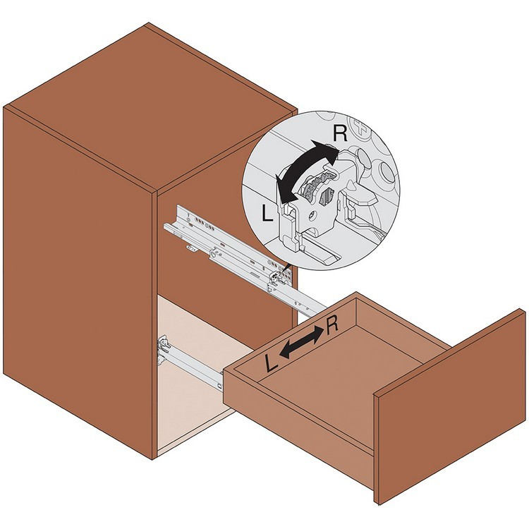 """Blum 569A6860B 27"""" TANDEM plus BLUMOTION 569A Undermount Drawer Slide, Heavy Duty, Full Extension, for 3/4 Drawer, 135lb :: Image 320"""