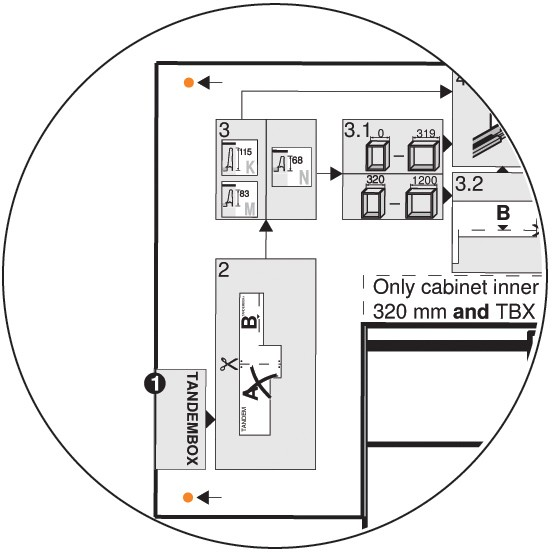 Blum Z10D5210.US SERVO-DRIVE Adapter Set for Horizontal Aluminum Profile Panels :: Image 90