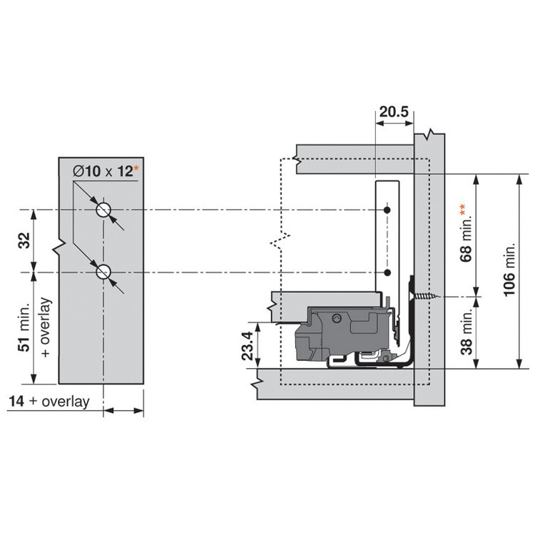 "Blum ZF7M70E2 LEGRABOX M Height (3-9/16"") Front Fixing Bracket, EXPANDO :: Image 30"