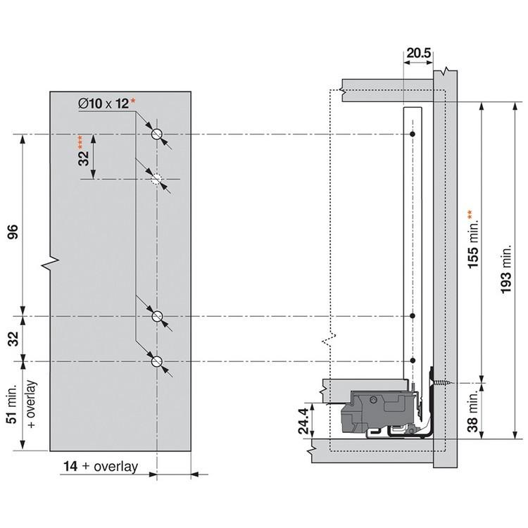 "Blum ZF7C7002 LEGRABOX C Height (7"") Front Fixing Bracket, Screw-On :: Image 60"