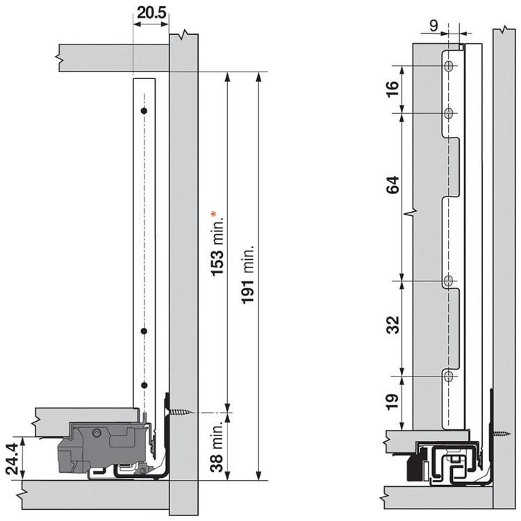 "Blum ZI7.3CI0 LEGRABOX C Height (7"") Interior Front Fixing Bracket, Stainless Steel :: Image 30"
