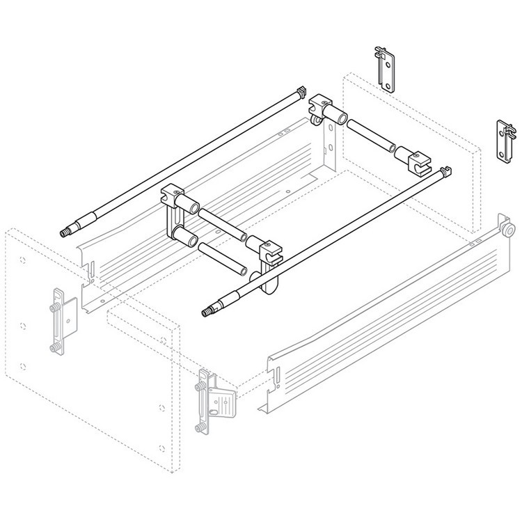 Blum ZRU.00E0.01 TANDEMBOX Cross Gallery Single Support Bracket, Dust Gray :: Image 10