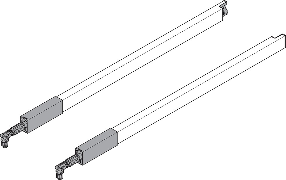"BLUM ZRG337RSIE 22"" TANDEMBOX Center Gallery Rail Set (Right & Left), 550mm, Gray :: Image 40"
