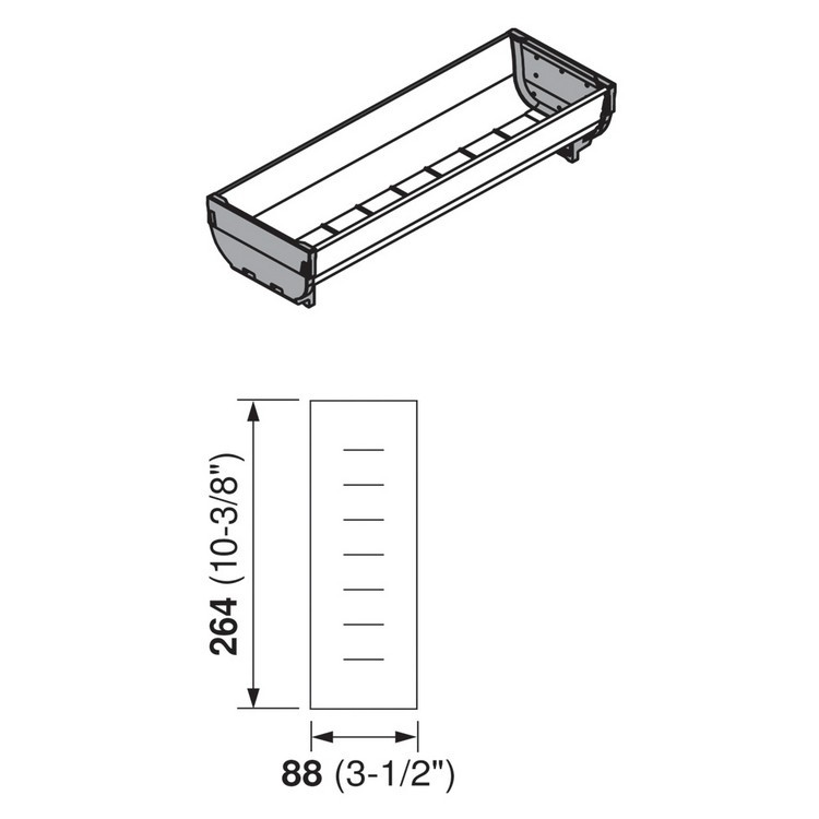 Blum ZSI.030SI 10-3/8 L Cutlery Tray - Long, Single Tray :: Image 10