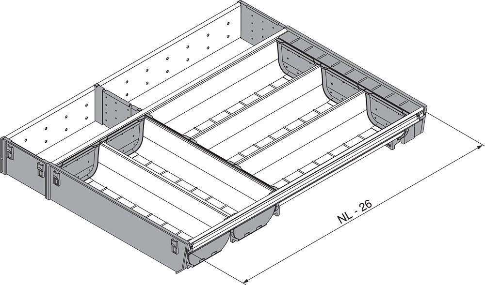 Blum ZSI.550KI4A 22in 4-Tiered Cutlery/Utensil Organizer, Inox :: Image 10