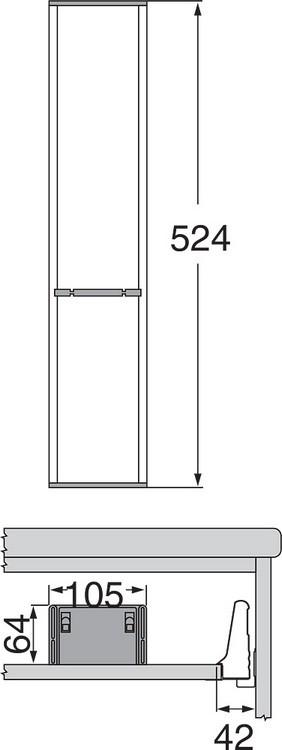 Blum ZSI.550FI1 22in Single Tiered Utensil Organizer, Inox :: Image 90