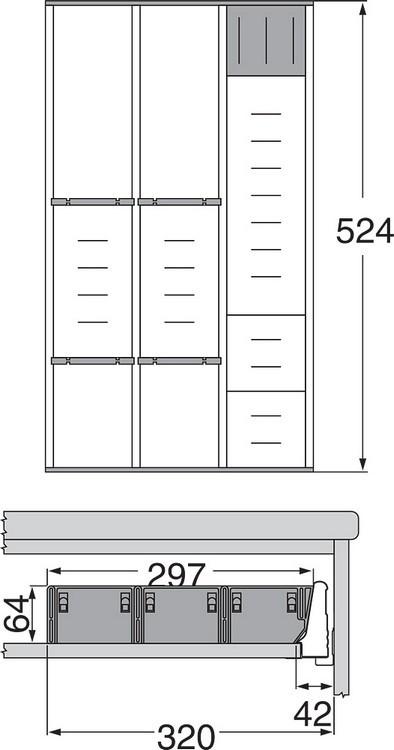 Blum ZSI.550MI3 22in 3-Tiered Cutlery/Utensil Organizer, Inox :: Image 90