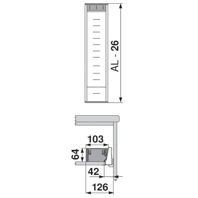 Blum ZSI.550BI1N 22in Single Tiered Cutlery Organizer, Inox :: Image 70