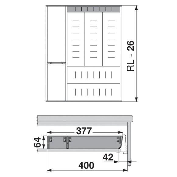 Blum ZSI.550KI4A 22in 4-Tiered Cutlery/Utensil Organizer, Inox :: Image 70