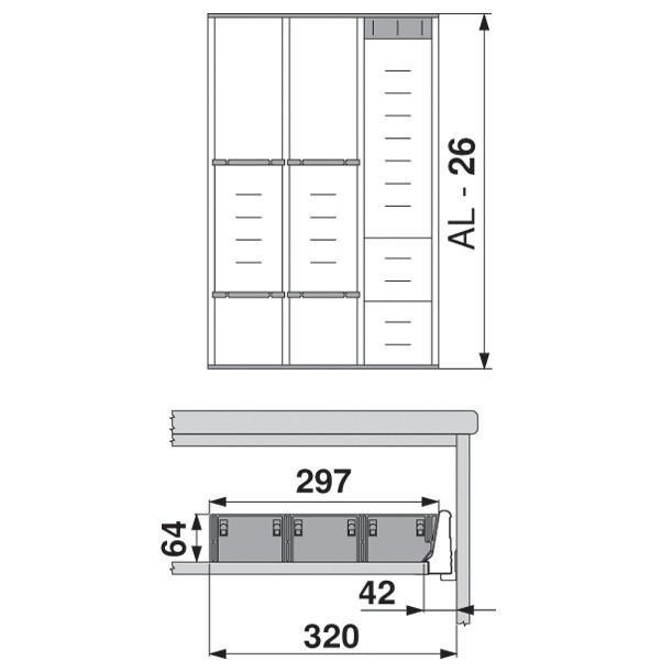 Blum ZSI.550MI3 22in 3-Tiered Cutlery/Utensil Organizer, Inox :: Image 110