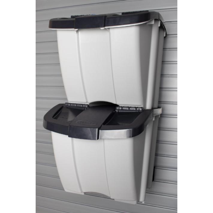 Recycling Bins - Gray bins with black lids