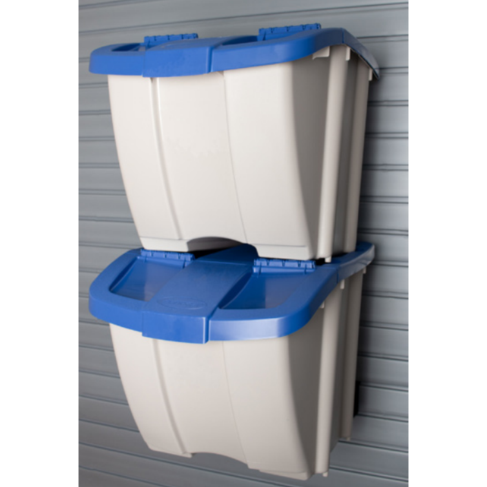 Recycling Bins - Taupe bins with blue lids
