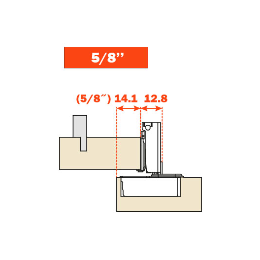 """Salice CUP35D9R 106° Soft-Closing Hinge, 5/8"""" Overlay, 3 Cam, Screw-On :: Image 30"""