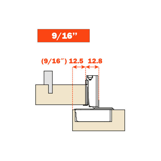 "Salice CUP36D9R 106° Soft-Closing Hinge, 9/16"" Overlay, 3 Cam, Screw-On :: Image 30"