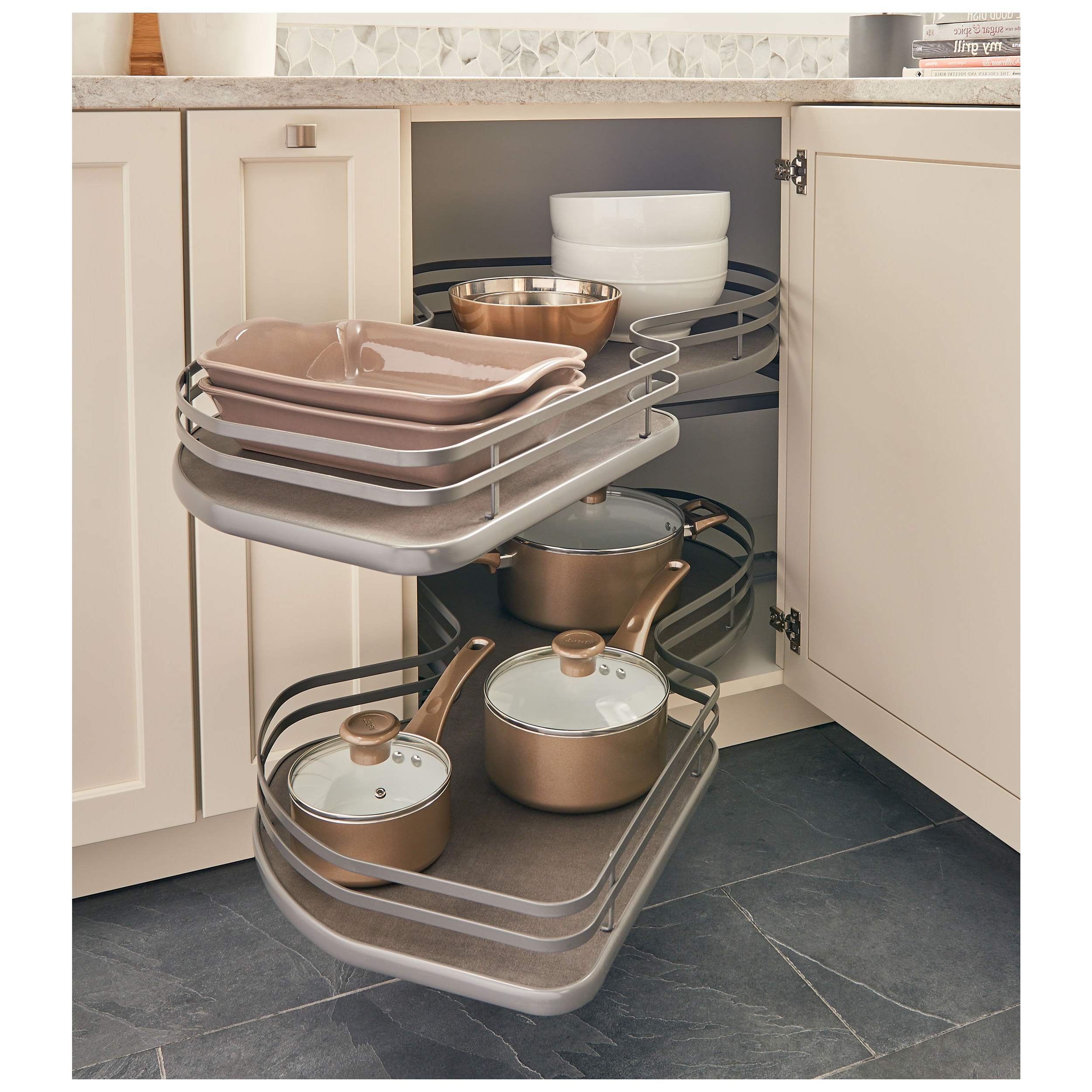 Rev A Shelf 5372 15 Fog L The Cloud 15 Blind Corner Pull Out Double Tier Orion Gray Left Hand