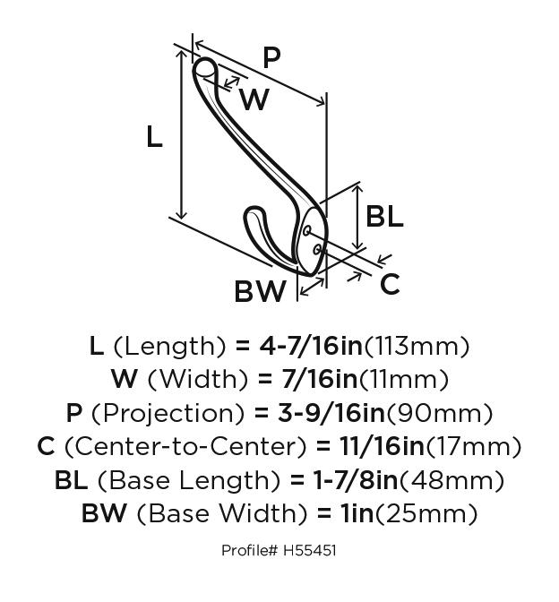 Amerock H55451GW, Zinc Coat Hook, Transitional Series, Large Double Prong-4in Proj, 4-1/4 H, White :: Image 20