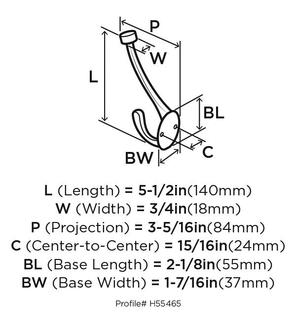 Amerock H55465S, Zinc Coat Hook, Traditional Series, Double Prong-3-1/2 Proj, 5-1/2 H, Silver :: Image 20