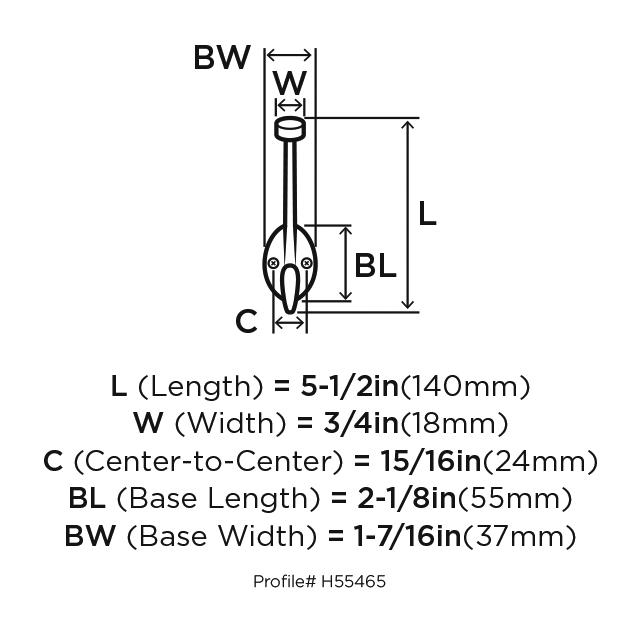 Amerock H55465S, Zinc Coat Hook, Traditional Series, Double Prong-3-1/2 Proj, 5-1/2 H, Silver :: Image 10