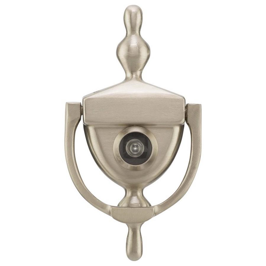 Brass Door Knocker With Peephole Viewer Satin Nickel Harney Hardware DKV630U15