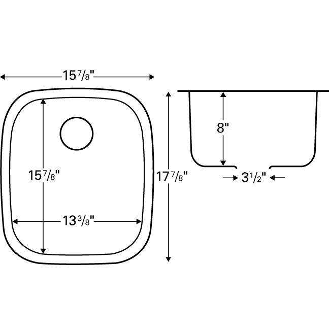 "Karran E315, Edge 16"" x 18-1/4"" Undermount Bar/ Prep Sink, Single Bowl :: Image 20"