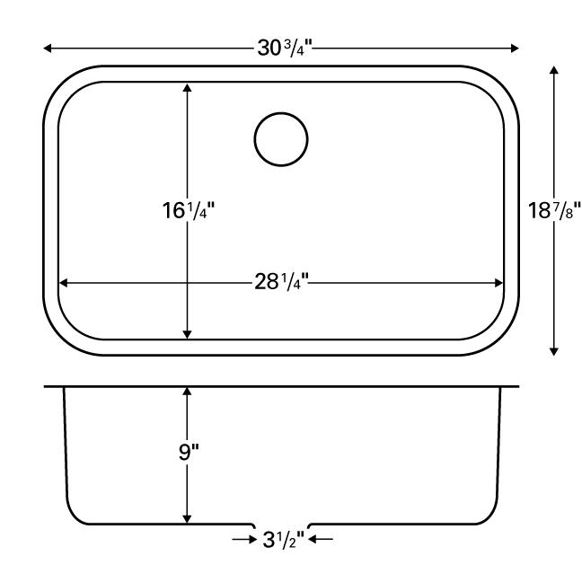 "Karran E340, Edge 31"" x 19"" Undermount Extra Large Kitchen Sink, Single Bowl :: Image 20"